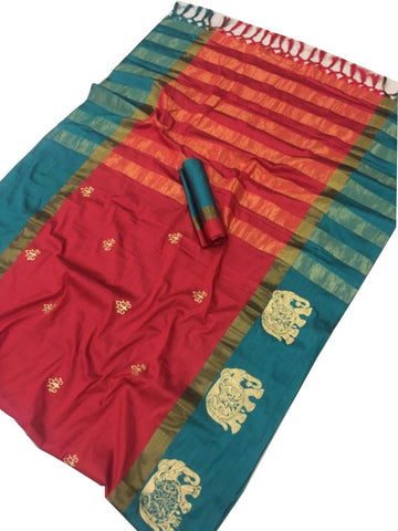 Red Color Cotton Silk Saree  - SRP-188-Red