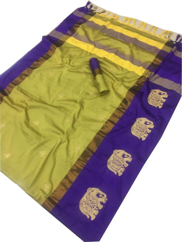 Yellow Color Cotton Silk Saree  - SRP-188-Yellow
