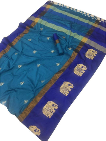 Sky Blue Color Cotton Silk Saree  - SRP-188-skyBlue