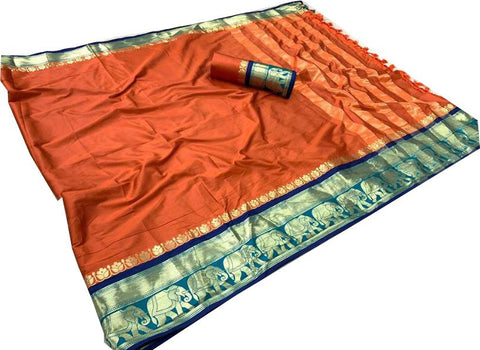Orange Color Cotton Silk Saree - SRP-195 Orange