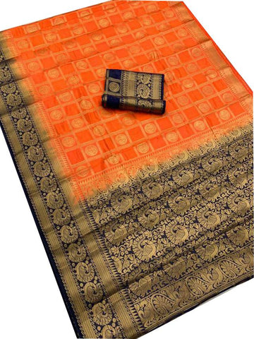 Orange Color kanchivaram Nylon Silk Saree - SRP-201 Orange