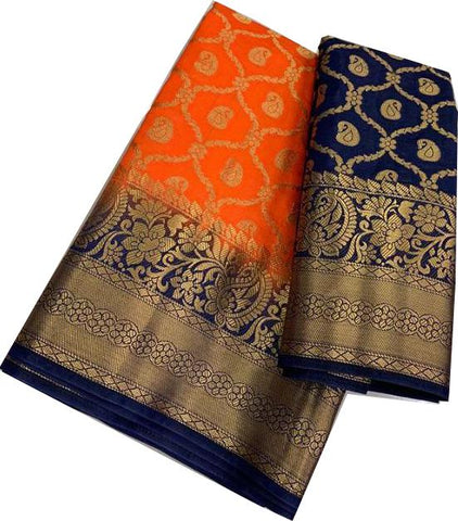 Orange Color Kanchivaram Nylon Silk Saree - SRP-202Orange