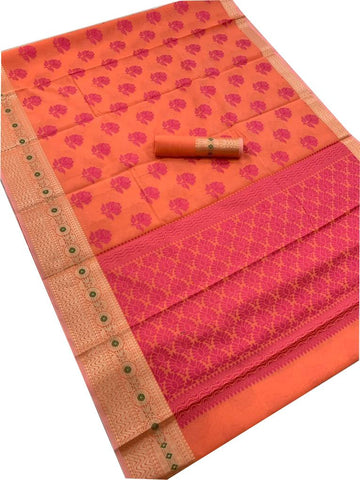 Orange Color Poly Cotton Jacquard Saree - SRP-208 Orange