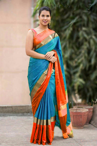 Sky Blue And Orange Color Cotton Silk Saree - SRP-20SkyblueOrange