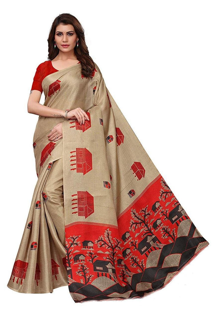 Buy Cream Color BhagalPuri Saree