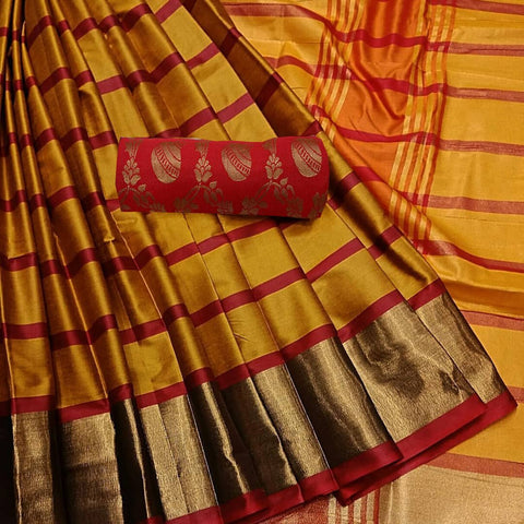 Yellow Color  Cotton Silk Saree - SRP-255Yellow