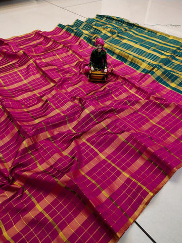Pink Color Uppada Checks Saree - SRP-256 Pink