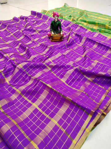 Purple Color Uppada Checks Saree - SRP-256 Purple
