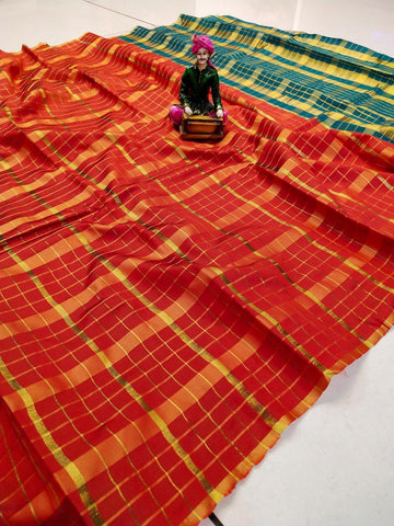Red Color Uppada Checks Saree - SRP-256 Red