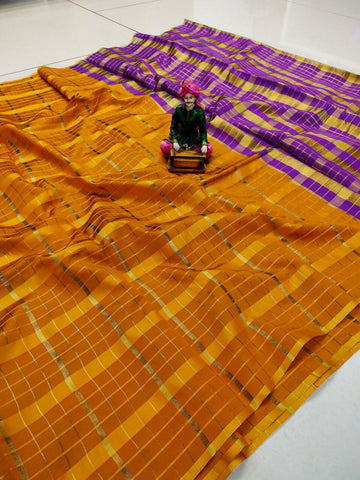 Yellow Color Uppada Checks Saree - SRP-256 Yellow