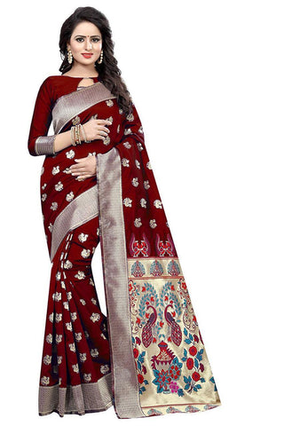 Maroon Color Heavy Silk Saree  - SRP-42-Maroon