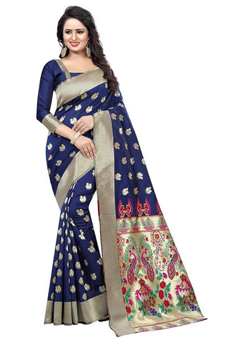Navy Blue Color Heavy Silk Saree  - SRP-42-Navyblue