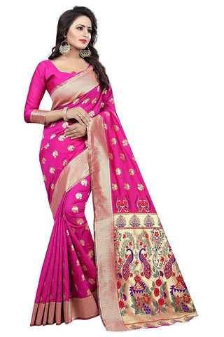 Pink Color Heavy Silk Saree  - SRP-42-Pink