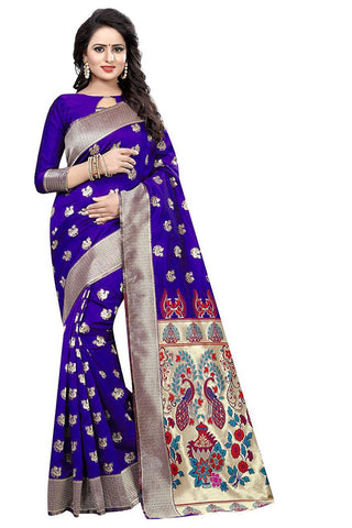Purple Color Heavy Silk Saree  - SRP-42-Purple