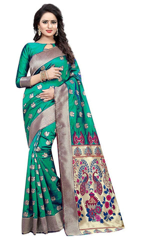 Rama Color Heavy Silk Saree  - SRP-42-Rama