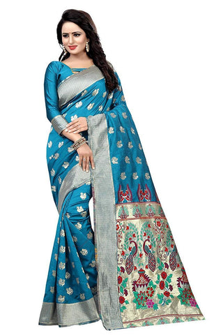 Sky Blue Color Heavy Silk Saree  - SRP-42-Skyblue