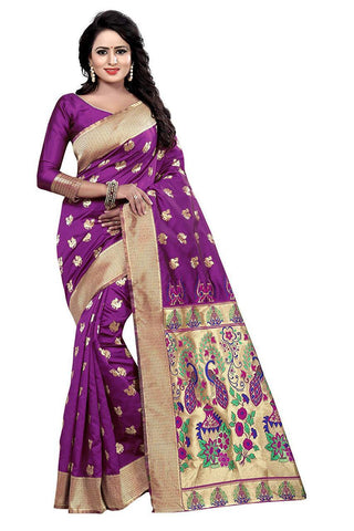 Violet Color Heavy Silk Saree  - SRP-42-Violet