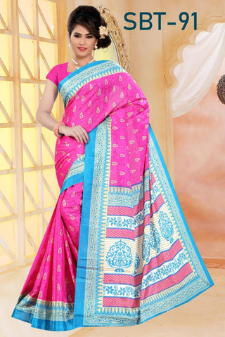 Pink Color White Silk Saree - SRP-91-Pink