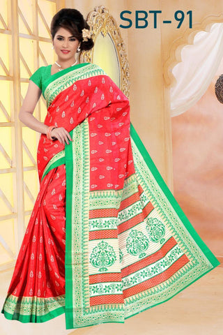 Red Color White Silk Saree - SRP-91-Red