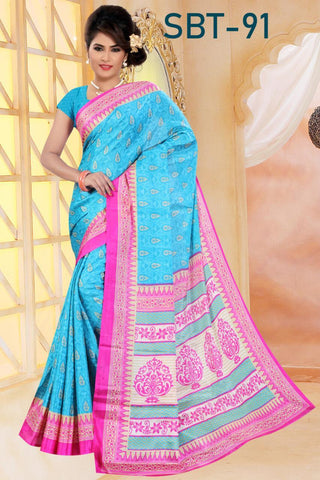 Sky Blue Color White Silk Saree - SRP-91-Skyblue