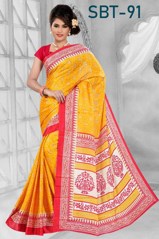 Yellow Color White Silk Saree - SRP-91-Yellow