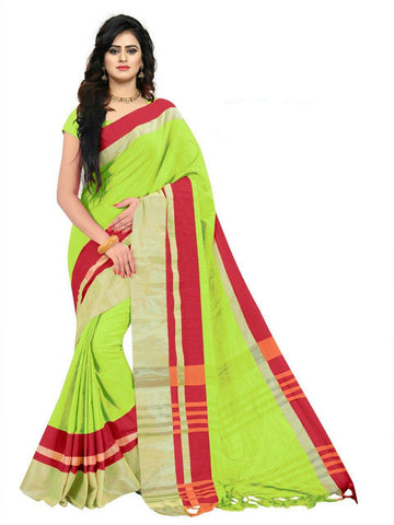 Parrot Green Color Linen Saree - SRP-97Parrot