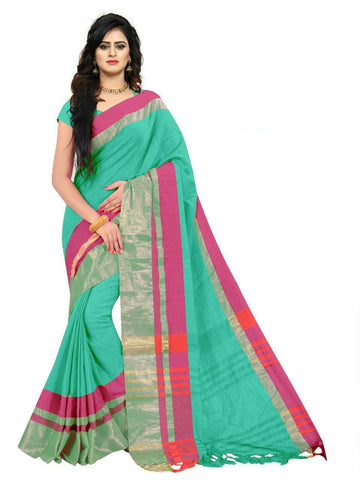 Turquoise Color Linen Saree - SRP-97Turquoise