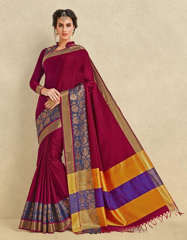 Rani Color Pure Cotton Silk Saree - SRP-ARIANNA RANI