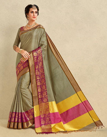 Khakhi Color Pure Cotton Silk Saree - SRP-ARIANNA khakhi