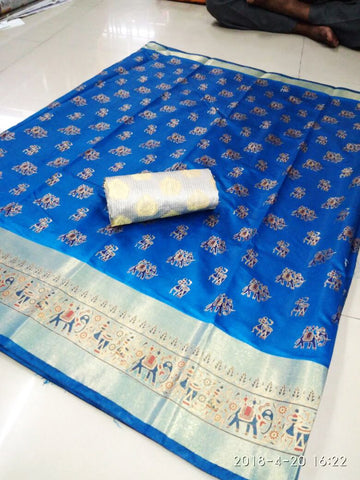 Blue Color Poly Silk Saree - SRP-Ajanta Blue1