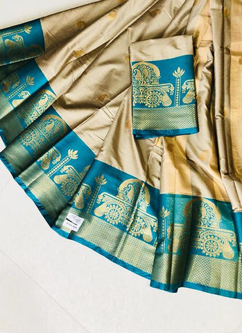 Beige Color Pure Silk Cotton Saree - SRP-Akshita Beige