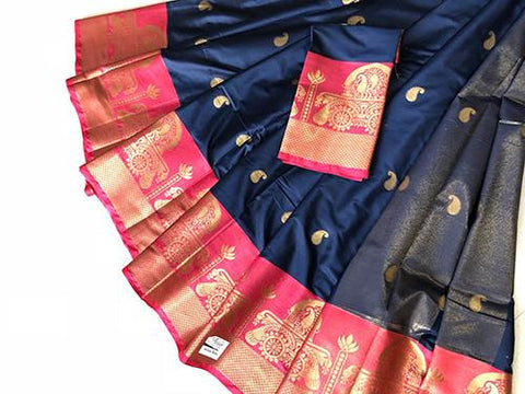 Nevy Color Pure Silk Cotton Saree - SRP-Akshita Nevy