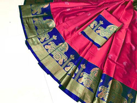 Pink Color Pure Silk Cotton Saree - SRP-Akshita Pink