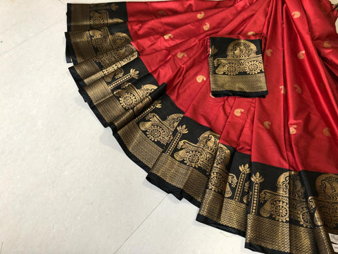 Red Color Pure Silk Cotton Saree - SRP-Akshita Red