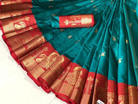 SkyBlue Color Pure Silk Cotton Saree - SRP-Akshita Sky
