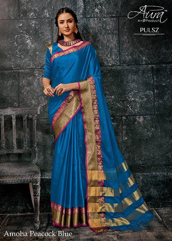 Blue Color Pure Cotton Silk Saree - SRP-Amoha Blue