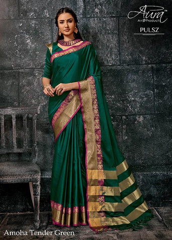 Dark Green Color Pure Cotton Silk Saree - SRP-Amoha DarkGreen