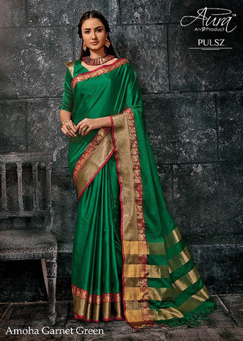 Green Color Pure Cotton Silk Saree - SRP-Amoha Green