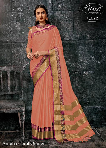 Orange Color Pure Cotton Silk Saree - SRP-Amoha Orange