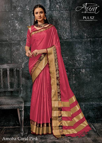 Pink Color Pure Cotton Silk Saree - SRP-Amoha Pink