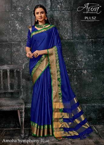 Royal Blue Color Pure Cotton Silk Saree - SRP-Amoha RoyalBlue
