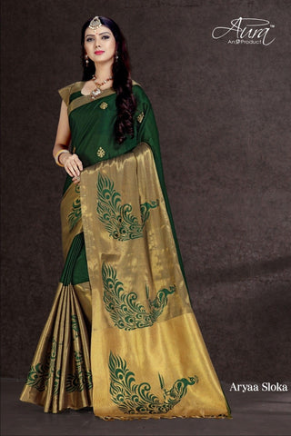DarkGreen Color Pure Cotton Silk Saree - SRP-Aryas loka DarkGreen
