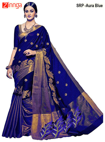 SRP FASHION-Women's Beautiful Cotton Silk Saree With Blouse - SRP-Aura Blue