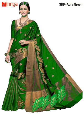 SRP FASHION-Women's Beautiful Cotton Silk Saree With Blouse - SRP-Aura Green
