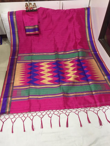 Pink Color Pure Ikkat Cotton Saree - SRP-BANEE Pink