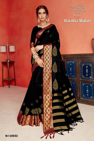 Black Color Pure Silk Cotton Saree - SRP-Bavitha Malari Black