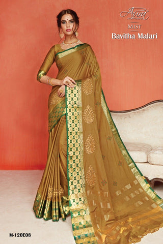 Gold Color Pure Silk Cotton Saree - SRP-Bavitha Malari Gold