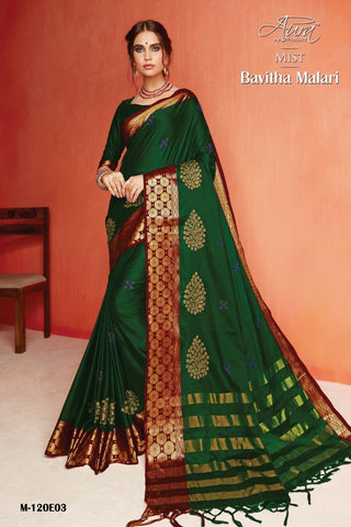 Green Color Pure Silk Cotton Saree - SRP-Bavitha Malari Green