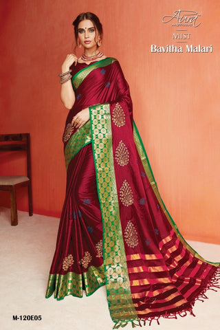 Maroon Color Pure Silk Cotton Saree - SRP-Bavitha Malari Maroon