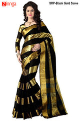 SRP FASHION-Women's Beautiful Cotton Saree With Blouse - SRP-BlackGoldSaree